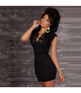 Sweet front black dress