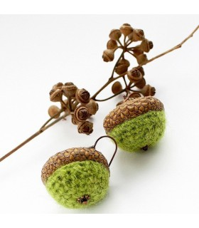 Crochet earrings acorn style