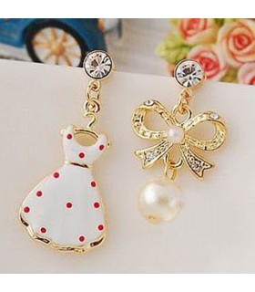 Asymmetrical cute embellished earrings