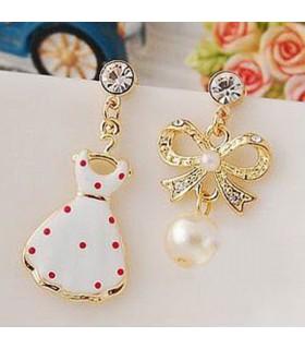 Asymmetrical cute embellished earrings
