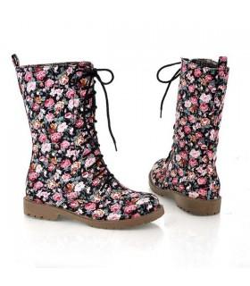 Stiefel mit Blumenmuster Aufdruck