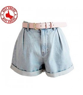 Light blue high waist jeans with belt