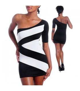 Geometrische Schnitte schwarzen und weißen Kleid