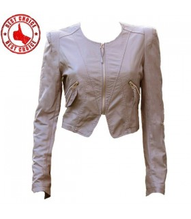 Cream short sexy zipper jacket