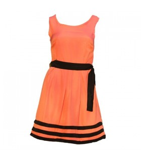 Coral elegant office dress