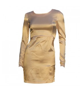 Rosa Satin lange Ärmel Kleid