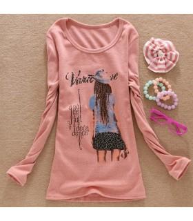 Rosa alla moda maniche lunghe t-shirt