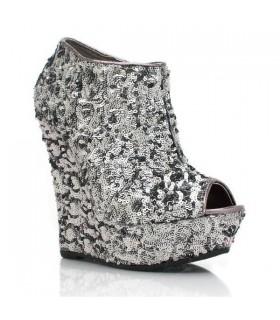 Sparkle Pailletten Silber sexy Stiefel