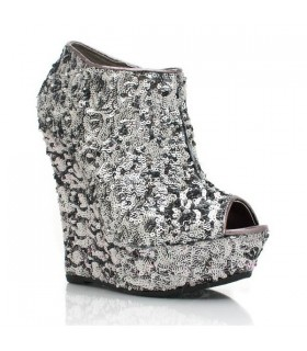Sparkle sequin silver sexy boots