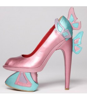Metallic pink and blue butterfly architectural shoes