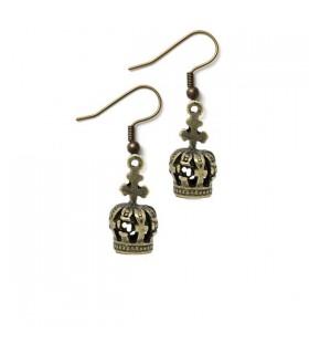 Crown vintage copper earrings