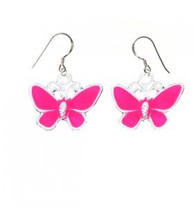 Pink butterfly silver earrings