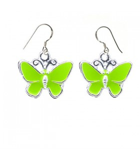 Green butterfly silver earrings