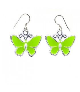 Green butterfly silver earrings