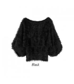 Flauschige schwarze Schmetterling Pullover