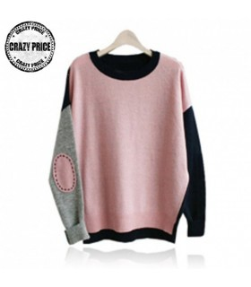 Pink sweater with patch design