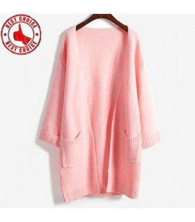 Cardigan tricoté long rose