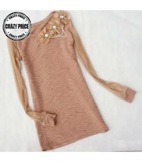 Camicetta maniche lunghe fiore cammello