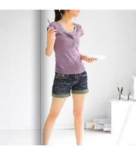 Lavender  sweet fake two piece short sleeves t-shirt