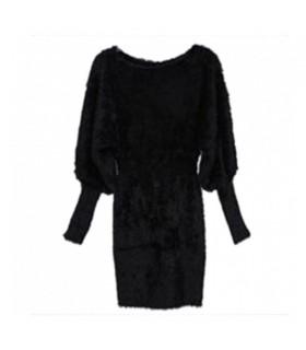 Minceur longue douille noire robe tricotée