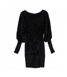 Slimming black long sleeve knitted dress