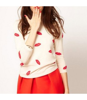 Trendy lips print sweater