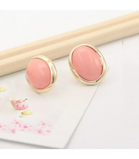 Pink oval fashion earrings