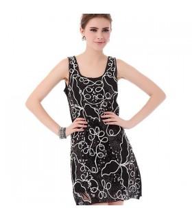 Verziertes schwarzes Paillettenkleid