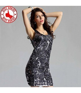 Grey sparkling sequin dress