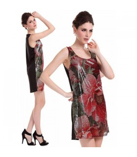 Peony print sequin dress