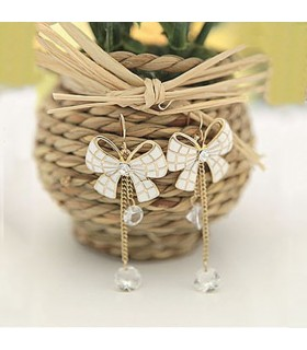 Sweet bow white earrings