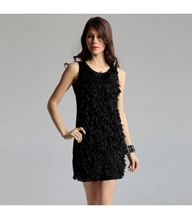 Flower Petal embellished black dress