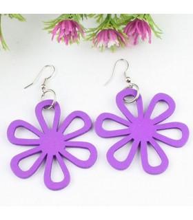 Orecchini di legno fiore viola
