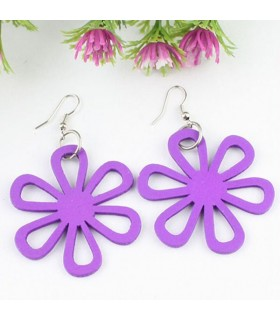 Purple flower wood earrings