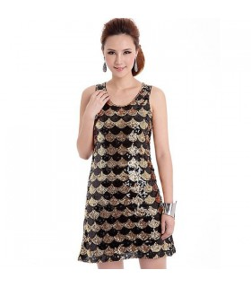 Gold black sequin dress