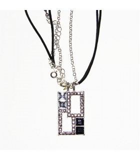 Rectangular necklace with stones