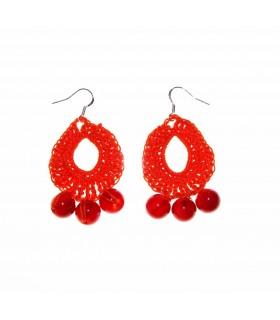Orange häkeln Ohrringe mit Perlen