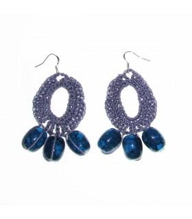 Grau häkeln Ohrringe mit Perlen