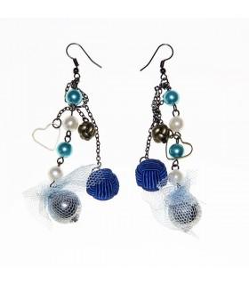 Blau Ohrringe lange in drei Ketten