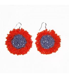Bouclés fleur au crochet orange et gris