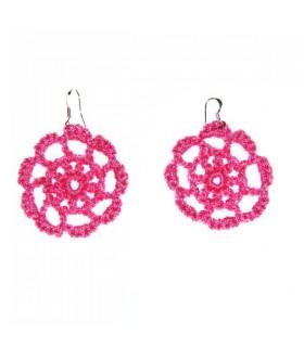 Rosa fiore del crochet orecchini fiore rotondo