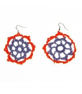 Crochet fleur grosse orange et gris