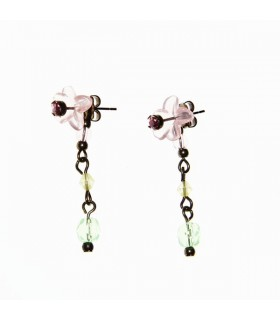 Long earrings with plastic flower and stras