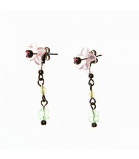Longues boucles d'oreilles avec fleurs et stras plastique