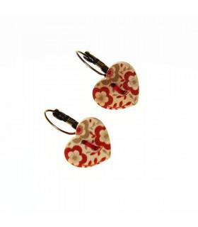 Wood heart earrings ethnic style
