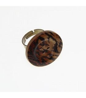 Holz Tiger Knopf Ring