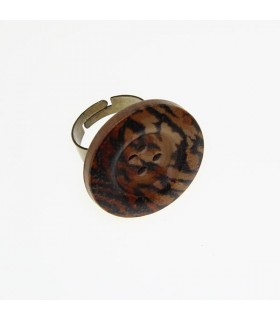 Tiger button wood ring