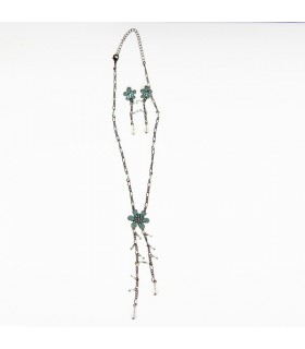 Green flower and beads set