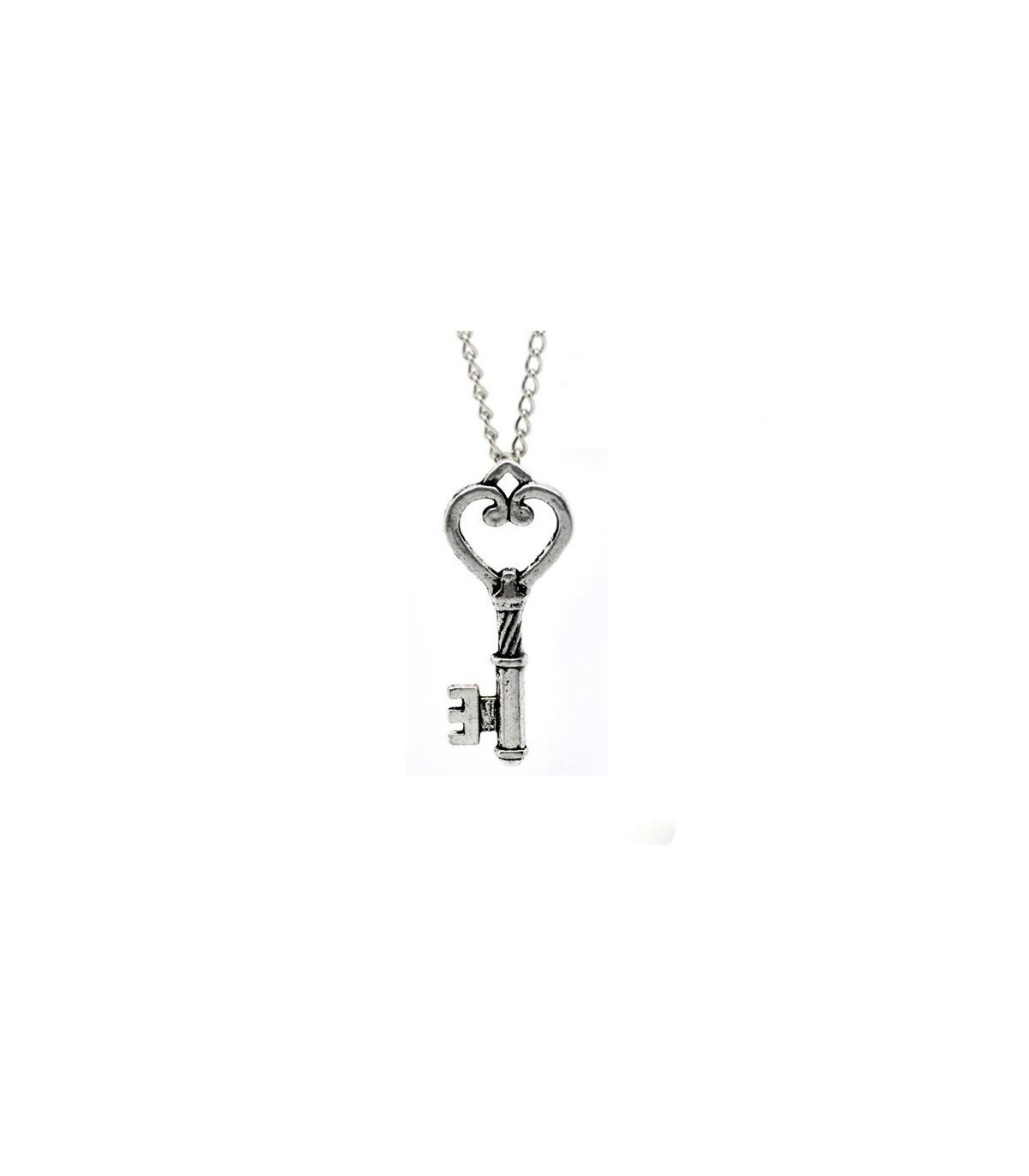 Kette mit Anhänger  Halskette  Perlen Schlüssel Gold