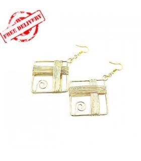 Square golden earrings